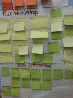 Love this idea with post it notes! Really cool post about inquiry based learning (reggio emilia) in first grade public school. Science Inquiry, Inquiry Based Learning, Problem Based Learning, Project Based Learning, Early Learning, Learning Activities, Kindergarten Inquiry, Preschool Classroom, First Grade Classroom