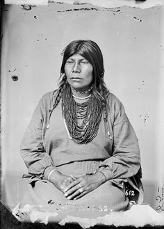 Portrait (Profile) of Pawnee Woman in Partial Native Dress with Ornaments 1868, by William Henry Jackson (1843-1942)