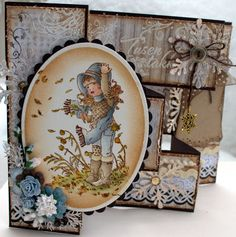 Annes lille hobbykrok: Stampavie, Sarah Kay, Tri shutter card, Distress Ink
