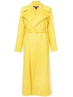 Ralph Lauren Danielson Cashmere Coat in Yellow as seen on Melania Trump Ralph Lauren Style, Ralph Lauren Collection, Ralph Lauren Leather Jacket, Yellow Coat, Cashmere Coat, Belted Coat, Coats For Women, Jackets, Outfits