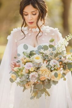 Wedding Cape with Flowers, Long Veil Cape Covered with Ivory Flowers and Pearls Cathedral Floral Veil Alternative Simple Wedding Gowns, Wedding Cape, Bridal Cape, Wedding Hair Flowers, Wedding Dress Trends, Tulle Wedding, Wedding Dresses, Bridal Skirts, Bridal Bouquets