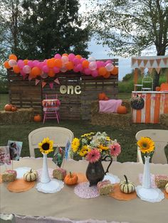 Pumpkin And Pink Party First Birthday Our Little Is