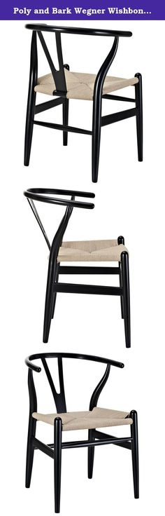 Poly and Bark Wegner Wishbone Style Chair, Black. Designed in 1949 by Denmark's foremost furniture designer Hans Wegner, the original wishbone chair was inspired by classical portraits of Danish merchants sitting on Chinese Ming chairs and is considered one of his most distinguished designs from his prolific portfolio of more than 500 pieces. The wishbone chair is widely utilized as a dining or occasional chair in stylish contemporary interiors due to its generous size and lightweight...