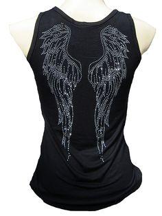 Rockabilly Punk Rock Baby Angel Wings Strass Tank Top - Fashion Tops | RebelsMarket