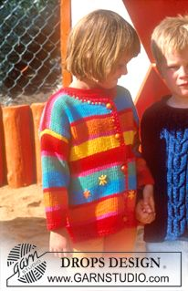 Cardigan in Paris with stripes and crochet borders Free pattern by DROPS Design. Knitting For Kids, Baby Knitting Patterns, Free Knitting, Drops Design, Baby Pullover, Crochet Borders, Yarn Crafts, Pulls, Handicraft