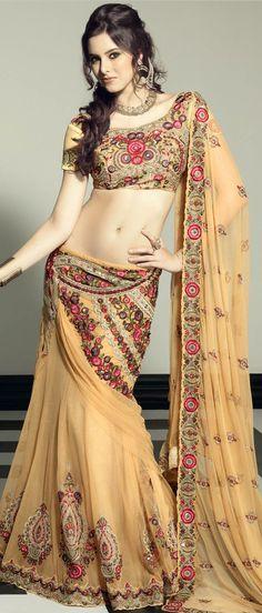 Beige Net Flared #Lehenga Choli with Dupatta @ $363.45 | Shop @   http://www.utsavfashion.com/store/sarees-large.aspx?icode=lsl17