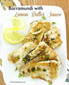 with Lemon Butter Sauce This recipe for barramundi with lemon butter sauce is so easy to prepare. This is a non fishy fish and has a buttery, sweet taste.Fishy Business Fishy Business may refer to: Fish Dishes, Seafood Dishes, Main Dishes, Healthy Cooking, Healthy Eating, Healthy Recipes, Delicious Recipes, Clean Eating, Raw Recipes