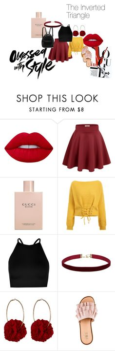 """THE INVERTED TRIANGLE BODY SHAPE"" by vasudha-jetha on Polyvore featuring Lime Crime, Gucci, Boohoo, Vjera Vilicnik and STELLA McCARTNEY"