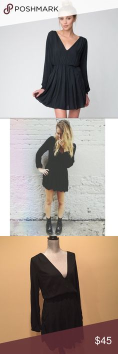 Brandy ❤️ Melville dress Super cute and trendy! This deep v-neck dress has elastic wristband and waistband, super soft fabric, bell sleeves and pleated skirt. 58% cotton 42% viscose, Made in Italy Brandy Melville Dresses