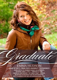 Not only do I love this girls senior picture, but I am in love with the graduation invitation!!