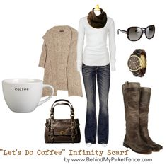 LET'S DO COFFEE...., created by #behindmypicketfence on #polyvore. #fashion #style Donna Karan Rock Revival