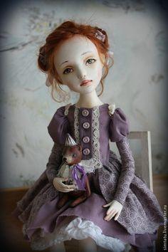 Коллекционные куклы ручной работы. Ярмарка Мастеров - ручная работа. Купить Мамина дочка. Handmade. Сиреневый, кукла с мишкой, кружево