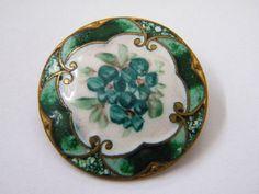 Antique vintage enamel metal button victorian steel cloisonne champleve flower