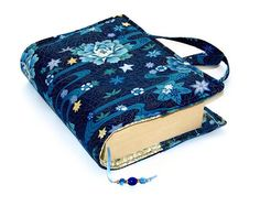 Book Cover Bag Blue Lotus Size 1 by WhimsyWooDesigns on Etsy, £15.00
