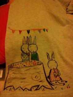Rabbits cute...like new, old shirt...