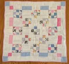"Doll Bed Quilt Vintage Fabric Nine Patch Cotton 21"" x 22"" C 1940 Documentation 