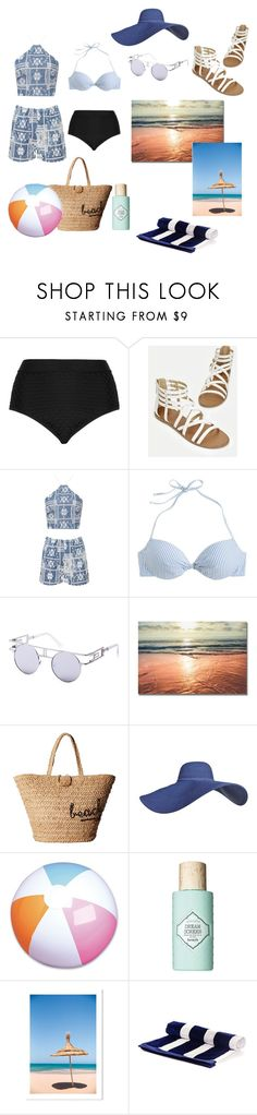 """~🌅Beach Days🌅~"" by bribrireed ❤ liked on Polyvore featuring Cactus, JustFab, WearAll, J.Crew, Hat Attack, Benefit and Black"