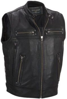 Wilsons Leather Mens Performance Padded Motorcycle Vest W/ Removable Thinsulate Lining Mens Leather Waistcoat, Black Leather Biker Jacket, Leather Vest, Leather Jackets, Biker Helmets, Motorcycle Vest, Motorcycle Leather, Leather Company, Vintage Jacket