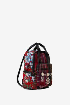 Woman's square checked backpack with floral embroidery. With side compartments, with zip fasteners. New Desigual Accessories collection. Tartan Plaid, Floral Embroidery, Backpacks, Adidas, Zip, Bags, Collection, Women, Products