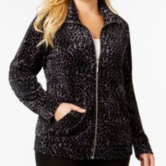 "Style & Co. Plus Size Animal-Print Velour Jacket Cotton/Polyester, Machine Washable, Wing Collar, Zipper closure at front, Hits at hip approximately 26"" long, Long sleeves, Velour fabric, All over leopard print, Split kangaroo pocket at front, Unlined, Active Sport Jacket, NEW Style & Co Jackets & Coats"