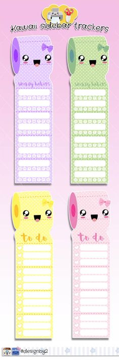 Kawaii Sidebar Trackers for your Erin condren Life Planner.