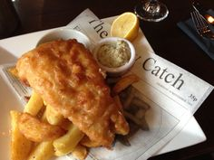 English Fish N Chips, originally served on newspaper with a sprinkling of salt and a shake or two of malt vinegar.