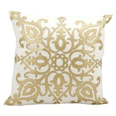 Add a pop of style to your sofa or favorite reading nook with this eye-catching pillow, featuring a gold-hued scrolling motif.     Pr...