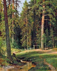 Fan account of Ivan Shishkin, a Russian landscape painter of the second half of century. Russian Landscape, Landscape Art, Landscape Paintings, Russian Painting, Russian Art, Forest Painting, Classic Paintings, Watercolor Trees, Wow Art