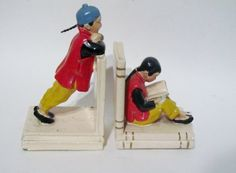 Vintage Book Ends - 1940's / 1950's Chinese Men Ceramic Bookends