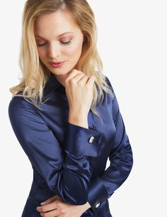 Women's Navy Fitted Satin Shirt - Double Cuff | Hawes And Curtis