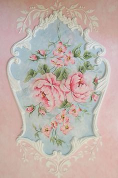 Rococo French Rose Art Panel Painting by Artist Jonny Petros