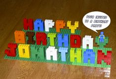 DIY Lego birthday sign.  Party decoration ideas.