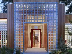 The entry way of a modern home in Menlo Park designed by Marrone & Marrone. Photo: Matthew Millman, Images Courtesy Of Marrone & Mar