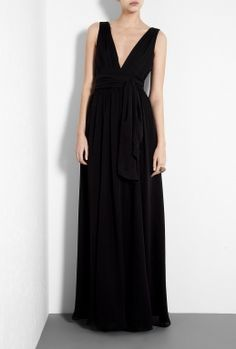 Black Ultimate Silk Goddess Gown by Halston Heritage