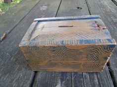 19Th C Small Slide Lid Candle Box Prussian Blue Mustard Comb Paint Square nails #Primitive
