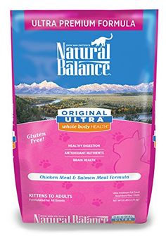 Natural Balance Original Ultra Whole Body Health Chicken Meal & Salmon Meal Formula Dry Cat Food, 6-Pound -- Continue to the product at the image link.