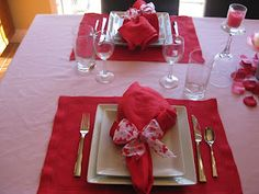 Valentine's Day dinner - used some of our wedding gifts to set the table