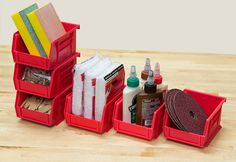 Pick up an AkroBin 6-Pack to organize small items. Now in Red, Blue, Yellow and Clear! #organize #garage #storage