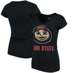 Ohio State Buckeyes Women's Choice Smiling Brutus V-Neck T-Shirt - Black
