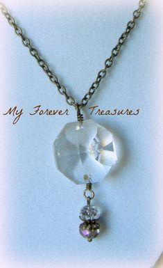 Repurposed Chandelier Crystal Necklace  by MyForeverTreasures