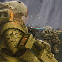 Tau troopers by Astaretsin - The Inquisitors Art Gallery Warhammer 40k Art, Warhammer Fantasy, Empire Tau, Fire Warrior, Far Future, Tyranids, The Grim, Space Marine, Sci Fi Art
