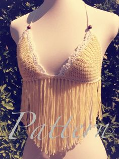 PDF PATTERN  Summer Crochet Fringe Top  Pictorial by ByTania, $3.50