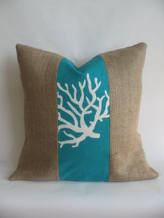 Turquoise Coral Fabric and Burlap Pillow Cover by BouteilleChic, $18.00
