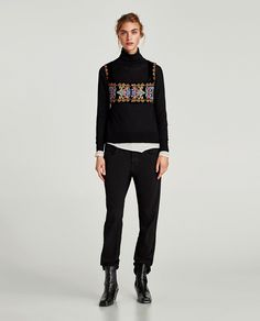 ZARA - WOMAN - EMBROIDERED VELVET CROPPED TOP