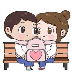 Cute Love Pictures, Cute Cartoon Pictures, Cute Couple Cartoon, Cute Cartoon Characters, Cartoon Gifs, Gif Pictures, Cute Images, Chibi Couple, Love You Gif