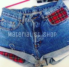 Levis Tartan  #fashion #tartan #levis #denim #vintage #levisshorts #shorts #jeans #grunge #casual #red