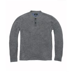 Byron Double Cloth Henley - Gray Marl Flint Blue
