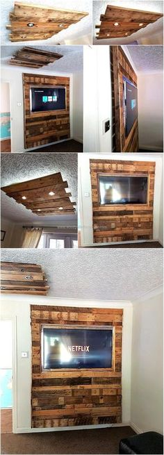 Wood Pallets Wall And Roof Lighting Art