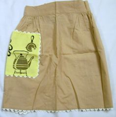 Vintage Apron, Brown Apron, Retro Apron, Half Apron, Apron with a Pocket - pinned by pin4etsy.com