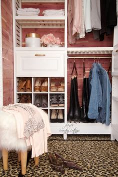 Check out this cedar-lined closet makeover with faux-leopard carpet, crystal chandelier,  and easy-to-install shelving system by Allen & Roth from Lowe's. | Via FrenchCountryCottage.net